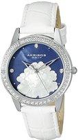 Akribos XXIV Women's AK805BU Quartz Movement Watch with Blue Mother of Pearl Dial and White Strap