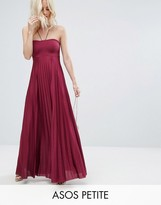 Asos Pleated Maxi With Strappy Neck Dress