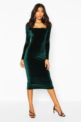 boohoo Tall Velvet Bodycon Midi Dress