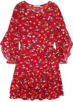 Maje Ruffled Floral-print Crepe Mini Dress - 1
