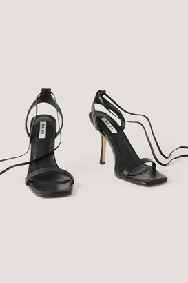 NA-KD Squared Front Tie Strap Heels