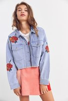 BDG Embroidered Rose Cropped Denim Trucker Jacket