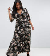 Koko Plus Wrap Maxi Dress With Kimono Sleeves In Floral Print