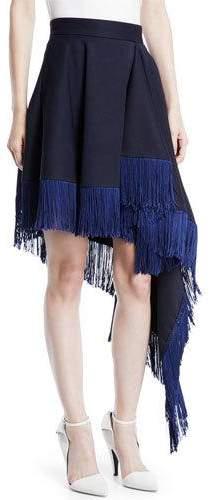 Calvin Klein Asymmetric Flag-Side Fringe Back-Zip Skirt