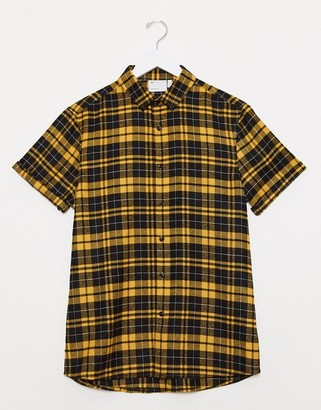 ASOS DESIGN regular shirt in black and yellow tartan check
