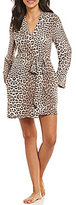Betsey Johnson Leopard-Print Fleece Wrap Robe