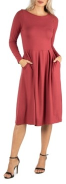 24seven Comfort Apparel Women's Midi Length Fit and Flare Dress