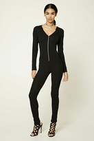 Forever 21 FOREVER 21+ Hooded Zip-Front Jumpsuit