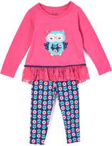 Nannette Pink & Blue Owl Tunic & Leggings - Infant Toddler & Girls