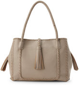 Urban Expressions Grey Kingston Whipstitch Tasseled Tote