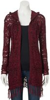 It's Our Time Juniors' Hooded Fringe Cardigan