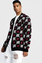 BoohoomanBoohooMAN Mens Red Oversized Gothic M All Over Print Knitted Cardigan, Red