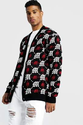boohoo Oversized Gothic M All Over Print Knitted Cardigan