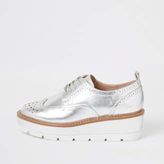 River Island Silver lace-up flatform brogue shoes