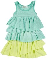 Lucky Jade Dip Dye Tier Dress (Baby) - Palm/Limeade-3-6 Months