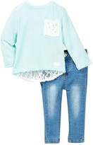 7 For All Mankind Lace Tee & Jean 2-Piece Set (Baby Girls)