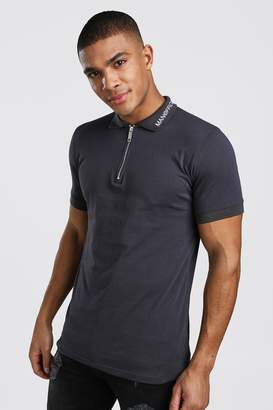 boohoo Muscle Fit MAN Official Zip Polo