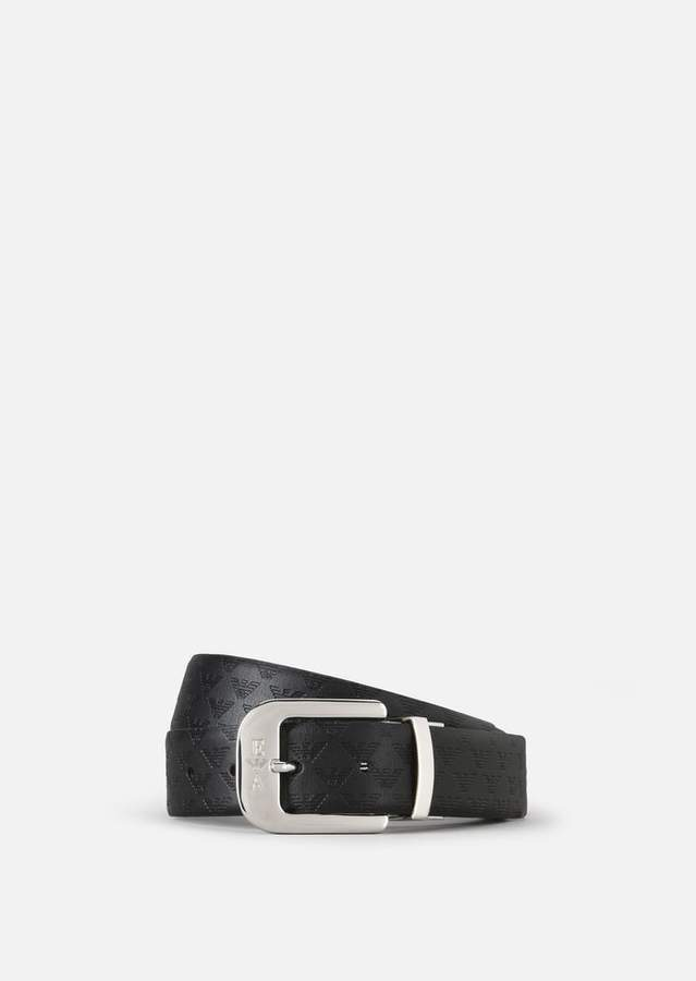 Emporio Armani All-Over Print And Smooth Leather Belt
