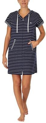 Lauren Ralph Lauren Short Sleeve Drop Shoulder Hooded Zip Lounger (Navy Stripe) Women's Robe