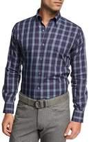 Peter Millar Crown Blackfoot Plaid Cotton Shirt, Navy