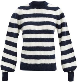 Ganni Striped Balloon-sleeve Wool-blend Sweater - Black White