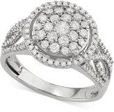 Macy's Diamond Cluster Openwork Ring (1 ct. t.w.) in 14k White Gold