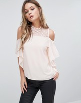 TFNC Cold Shoulder Frill Top With Lace Trim