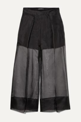 Cushnie Cropped Silk-organza And Crepe Wide-leg Pants - Black