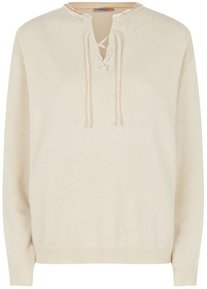 London W11 Lace-Up Cashmere Sweater In Ivory