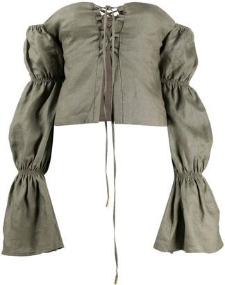 Cult Gaia Claire off-the-shoulder linen blouse