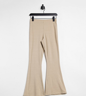 ASOS DESIGN Petite kick flare trouser in oatmeal marl