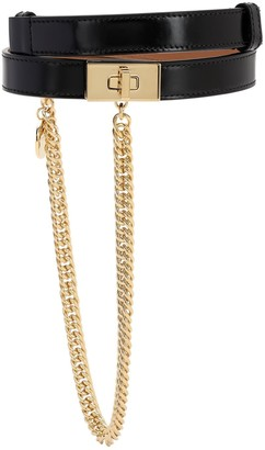 Givenchy 20MM SMOOTH LEATHER BELT W/ CHAIN