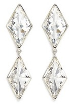 Kenneth Jay Lane Rhombus cut glass stone drop clip earrings