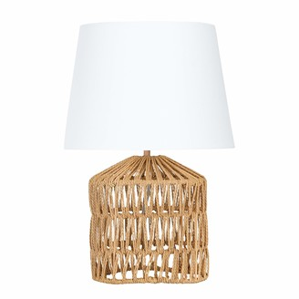 Creative Co-op Drum-Shaped Rope Empire Shade Table Lamp