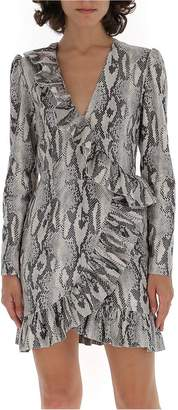 MSGM Snakeskin Effect Ruffle Hem Mini Dress