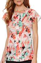 Liz Claiborne Short-Sleeve Pleated Print Blouse