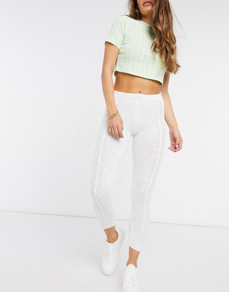 UNIQUE21 knitted joggers in white