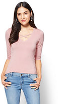 New York & Co. Soho Soft Tee - Criss-Cross V-Neck Top