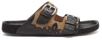 Isabel Marant Lennyo Suede And Leather Slides - Black Beige