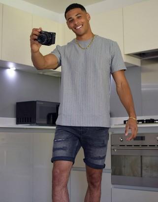 Topman waffle stripe t-shirt in grey