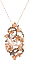 LeVian Le Vian Chocolatier® Crazy Collection® Diamond Fancy Scroll Floral Pendant Necklace (1-1/5 ct. t.w.) in 14k Rose Gold