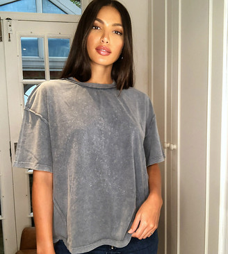 Asos Tall ASOS DESIGN Tall oversized t-shirt with exposed seams in washed grey