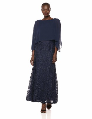 Ignite Women's Zipper Sequin Lace Beaded Gown Dress with Cape