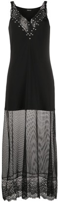 Ermanno Ermanno Studded Collar Mesh-Panel Dress