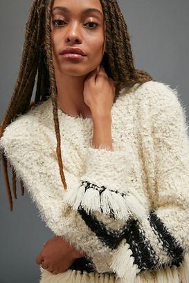 Cora Fringed Eyelash Sweater By Amadi in White Size M