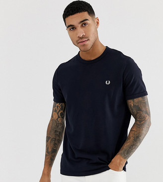 Fred Perry pique logo crew neck t-shirt in navy Exclusive at ASOS