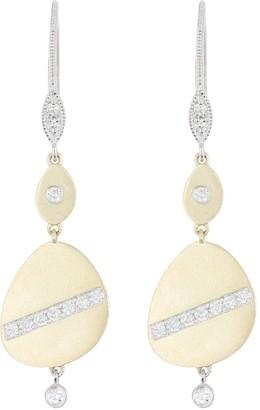 Meira T Two-Tone 14K Gold Pave Diamond Double Drop Earrings