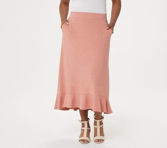 Logo by Lori Goldstein LOGO Lounge by Lori Goldstein Jersey Skirt with Flounce Hem