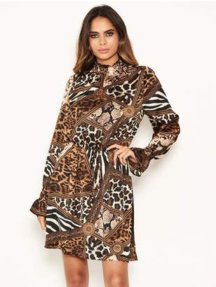 AX Paris Animal Print High Neck Skater Dress - Multi