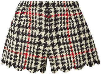 RED Valentino Scalloped Houndstooth Wool-blend Boucle Shorts